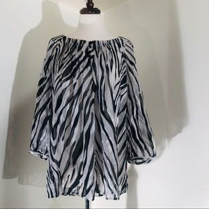 Chico Zebra long sleeve sheer top; New w/tag Size3